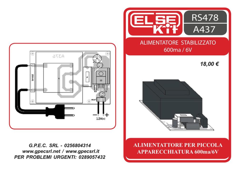 kit - rs478 a437 alimentatore stabilizzato 600ma 6v | gpec srl
